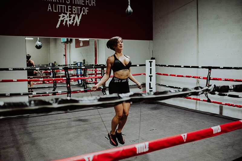 Jump rope in boxing ring